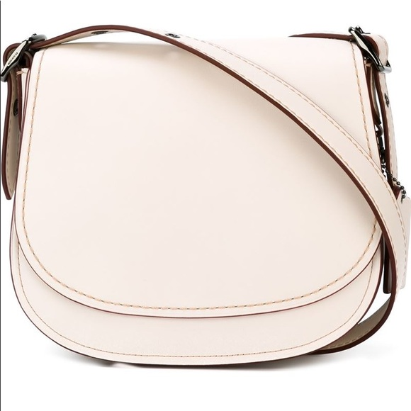 Coach Handbags - COACH Chalk Glovetanned Leather Saddle Crossbody